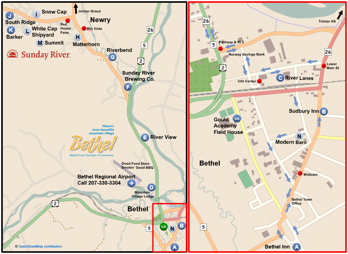 Mountain Explorer Route Map showing scheduled and flag stops and the actual route through town. Please call 207-330-3304 for more information.