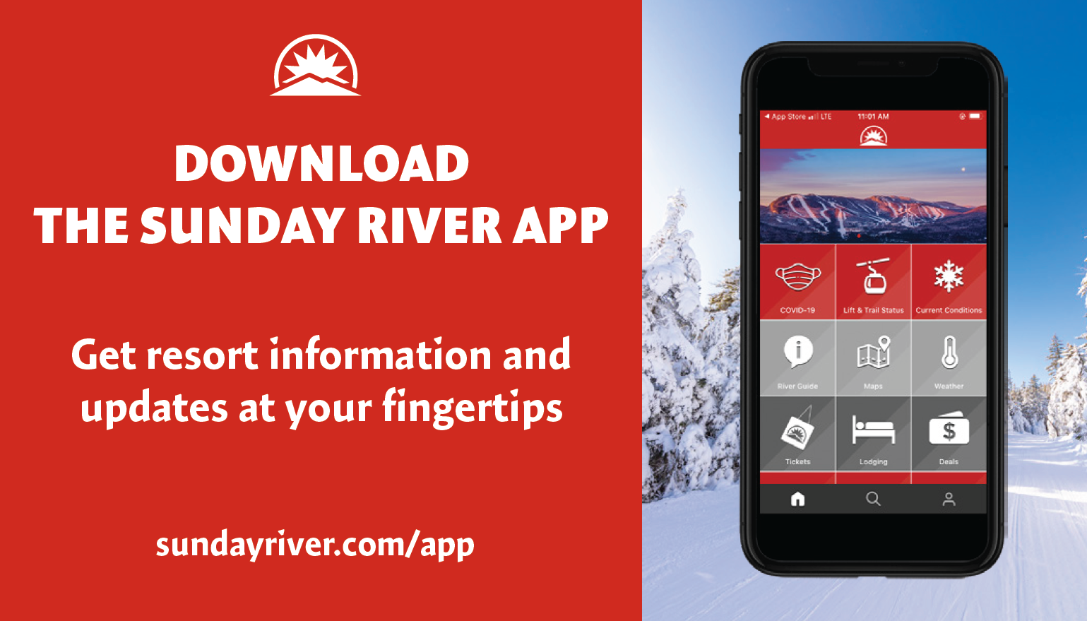 Download the Sunday River App Get Resort information and updates
